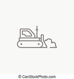 Bulldozer line icon - Bulldozer line icon for web, mobile...