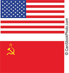 cold war - USA vs USSR flags - isolated vectorillustration