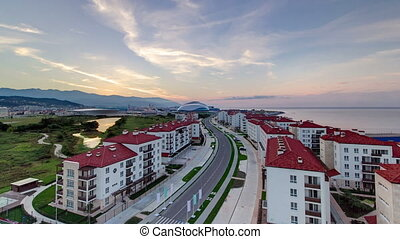 Beautiful sunrise at Olympic village and park Sochi timelapse.