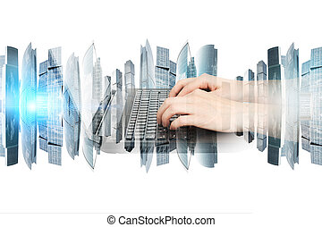 Womans hands with laptop and city on white background