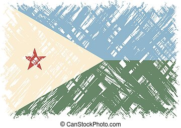 Djibouti grunge flag Vector illustration Grunge effect can...