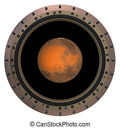 Red Planet In The Spacecraft Porthole 3D Scene