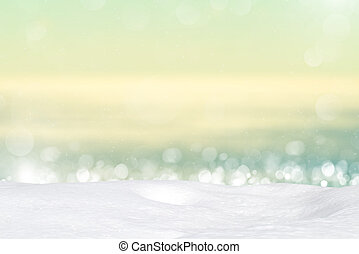 Snow on abstract bokeh background