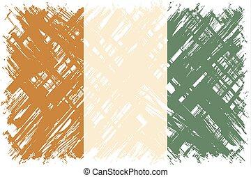 Cote d Ivoire grunge flag. Vector illustration. Grunge...