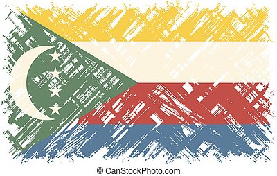 Comoros grunge flag. Vector illustration. Grunge effect can...