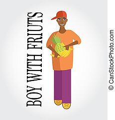 Vector positive illustration. Boy with fruits on the gray background.