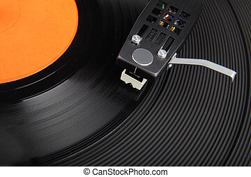 Closeup of vintage record player and vinyl