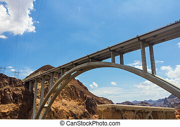Hoover Dam bridge - View of the Hoover Dam bridge in a sunny...