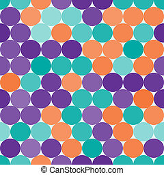 Purple, turquois and orange vector seamless pattern with...