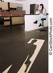 Gunman - Shadow of an gunman watching a girl drinking wine