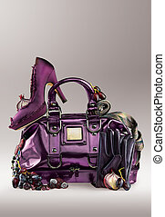 Purple purse and shoes - A background of purple shoes, purse...