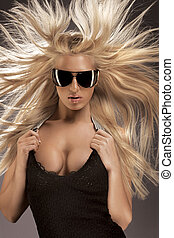Ultramodern blond woman - A portrait of a sexy, ultramodern...