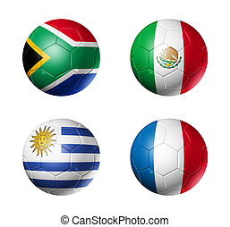 soccer world cup group A flags on soccer balls