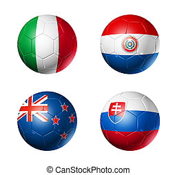 soccer world cup group F flags on soccer balls - 3D soccer...