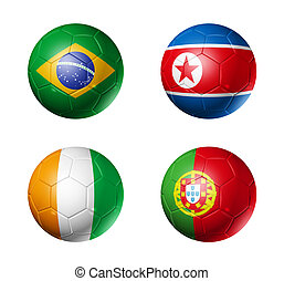 soccer world cup group G flags on soccer balls