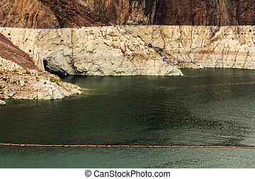 Water level - View of water level at Hoover Dam, on the...
