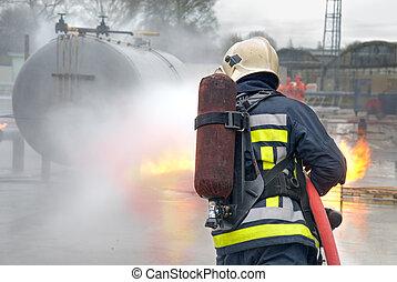 bombeiro, Extinguir, tanque, fogo