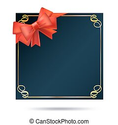 decorative gift background with frame and red ribbon. vector