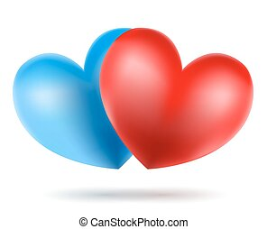 blue and red heart symbols on white. vector