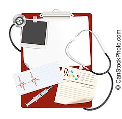 stethoscope on medical clipboard with white blank paper, medical pills, syringe, cardiogram. vector
