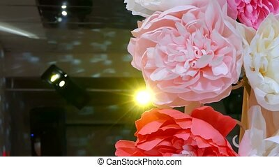 artificial flowers on holiday Rear flashing light lamp