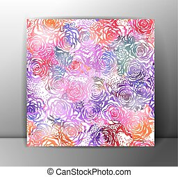 Roses seamless pattern, colorful. Vector, EPS 10.