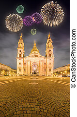 Beautiful fireworks above St Stephens Basilica and square in...