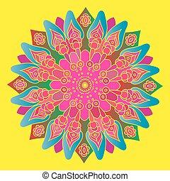 Bright pink mandala on the yellow