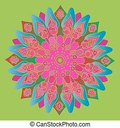 Bright pink and blue mandala