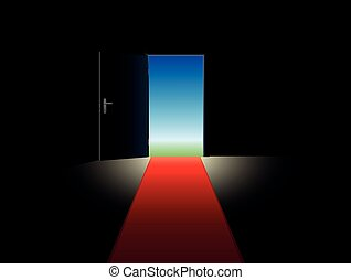 Freedom Red Carpet Open Door - Freedom symbolized with a red...