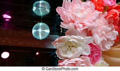 artificial  flowers on holiday rear flashing lamp light