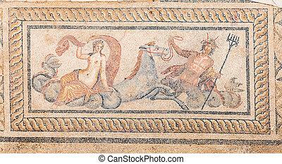 Nereid, y, tritón, mosaico, en, terraza, Casas,...