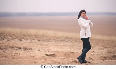 woman cold It is in full growth nature girl Russia autumn...