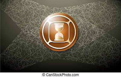 Dark background with abstract cobweb and sand glass