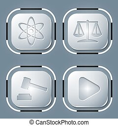 Set of four icon and different symbols