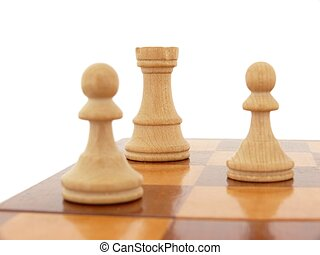 Chess - White chess figures on a chessboard isolated on...