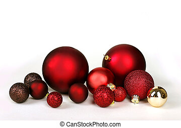 Christmas Decoration Bulbs Scattered and Isolated on White...