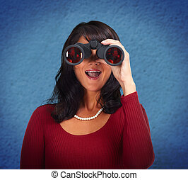 Business woman with binoculars - Business woman with...