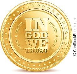 golden finance isolated dollar coin with text 'in God We...