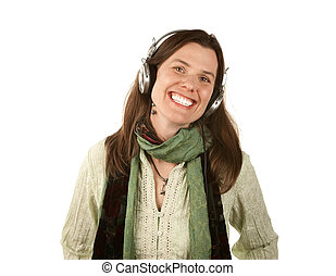 Pretty woman wearing headphones - Pretty adult woman in...