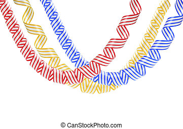 Set of colorful serpentine streamers isolated on white...