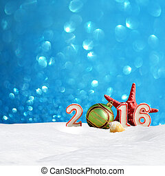New year 2016 sign with starfish, sea shells, snowdrift and...