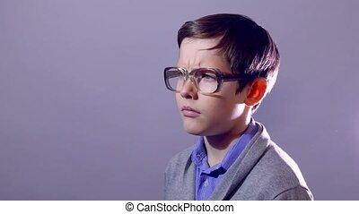 boy teenager nerd portrait think problem schoolboy glasses -...