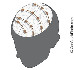 mental slavery concept. - vector illustration of human head...
