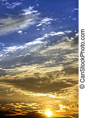 Sun set and dramatic sky background with clouds