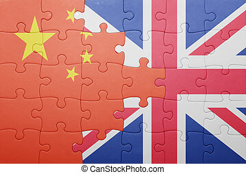 puzzle with the national flag of great britain and china ....