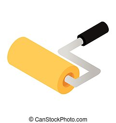 Paint roller isometric 3d icon isolated on white background