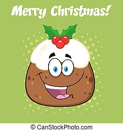 Happy Christmas Pudding Cartoon Character. Illustration...