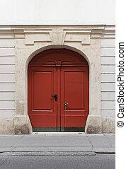 Double door - Double retro wooden door on old building