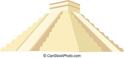 Chichen itza vector isolated, maya monument, stone